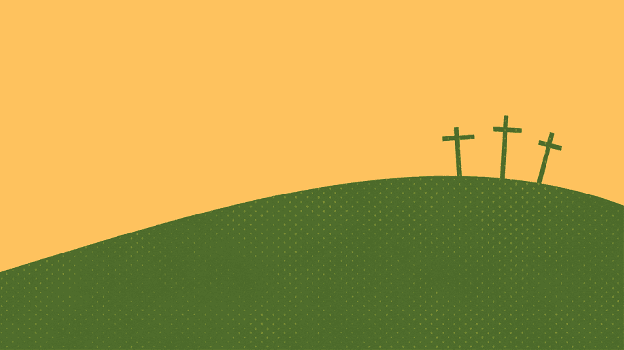 A yellow background with rolling green hills in the foreground. On top of one hills are three roman crosses.