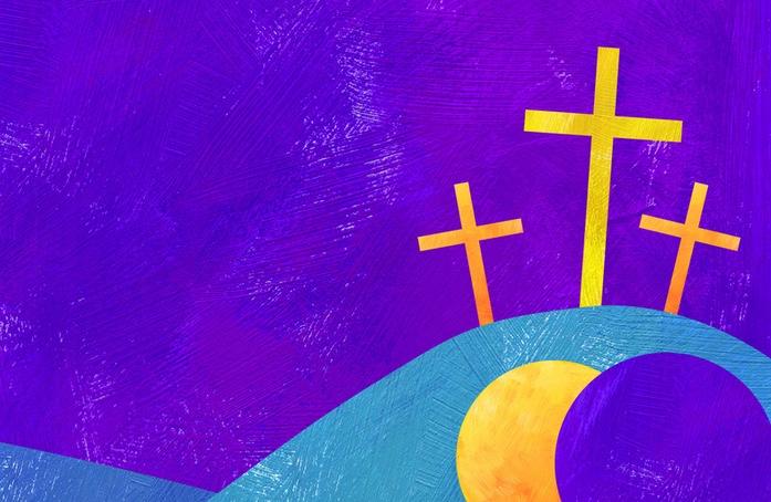 Crosses with a resurrection scene below